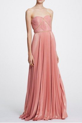 Coral Strapless Pleated Gown