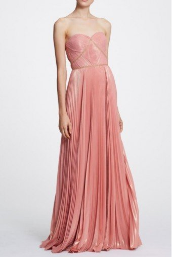 Marchesa Notte Coral Strapless Pleated Gown