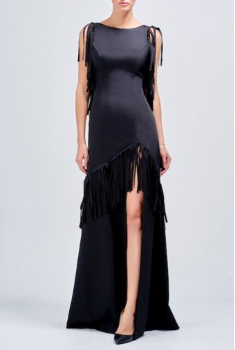 John Paul Ataker Laser cut fringe detailed faille long black dress