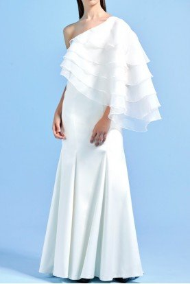 White long dress with organza layered cape