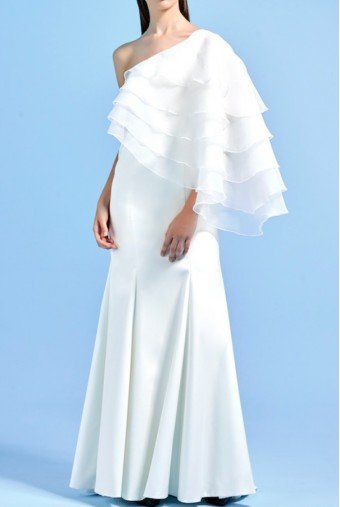 John Paul Ataker White long dress with organza layered cape