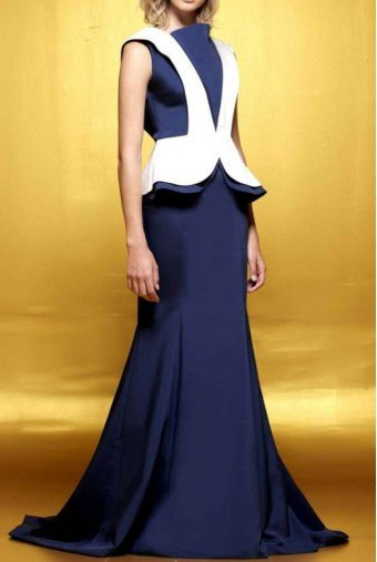 John Paul Ataker Two-toned structured long dress JPA 1618