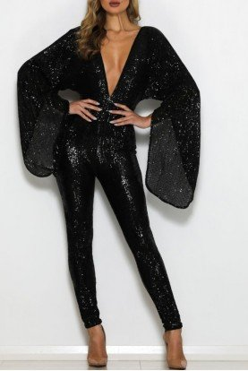 Black Sequin Fire Pantsuit