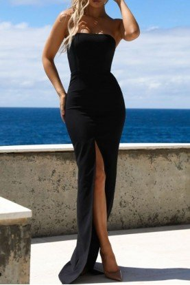 Abyss by Abby Strapless Black Bodycon Monaco Dress Evening Gown