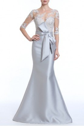 Badgley Mischka Silver Sheer Lace Illusion Trumpet Evening Gown