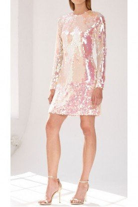 Blush Pink Long Sleeve Sequin Mini Dress