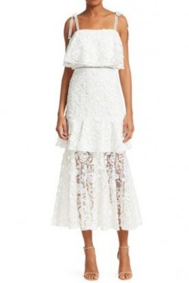 ML Monique Lhuillier White Lace Sleeveless Floral Midi Tea Dress