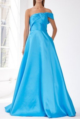 ML Monique Lhuillier Blue One Shoulder Mikado Evening Gown