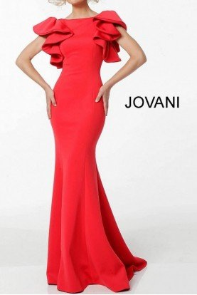 64465 Red Ruffle Sleeve Fitted Evening Gown