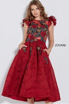 Burgundy Floral Embroidered Cocktail Dress 59787