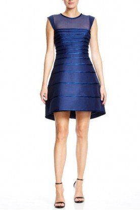 Navy Blue Satin Strip Structured Cocktail Dress