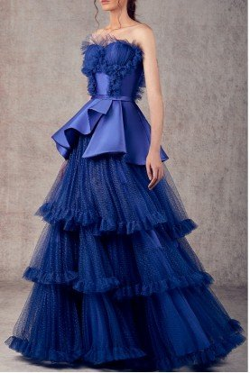 Royal Blue Mikado and Tulle A Line Evening Gown