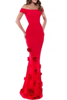 Tarik Ediz Off the Shoulder Red Janet Gown
