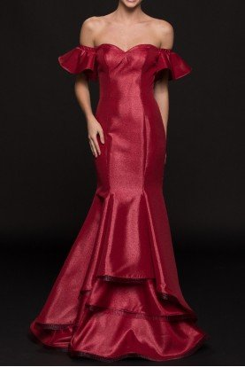 Colors  G793 Off Shoulder Mikado Metallic Wine Red Gown