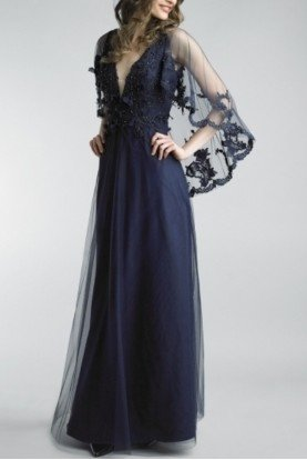 Basix Black Label Navy Blue Lace Cape Sleeve Gown Evening Dress