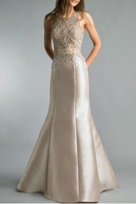 Champagne Gold Embellished Sleeveless Evening Gown