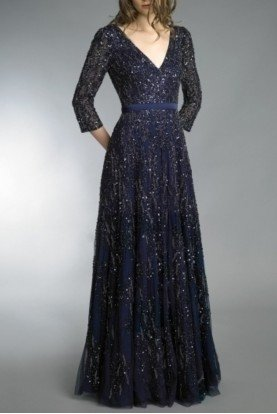 Navy Blue Embellished Long Sleeve Evening Gown