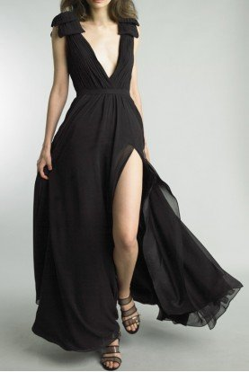 Black Sleeveless Deep V Neck Pleated Evening Gown