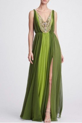 Chartreuse Plunging V Neck Georgette Evening Gown