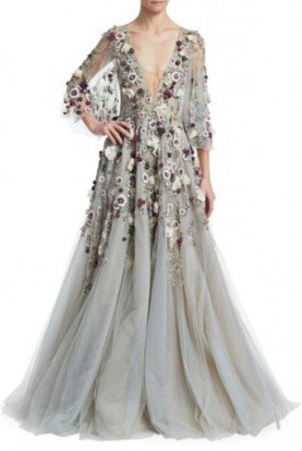 Marchesa Sheer Sleeve Evening Gown