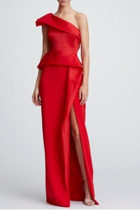Marchesa Red Structured One Shoulder Crepe Evening Gown