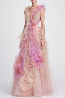 Marchesa Pastel Sorbet Plunging V Neck Silk Tulle Ball Gown