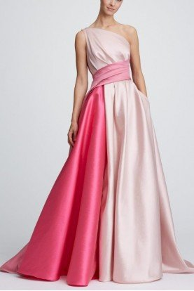 Pink Colorblock One Shoulder Mikado Ball Gown Bow