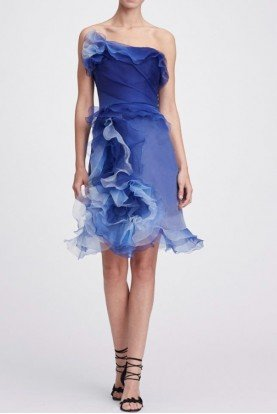 Cobalt Blue Strapless Ombre Cocktail Dress