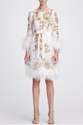 Marchesa Ivory Gold Long  Sleeve Lace Cocktail Dress