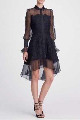 Marchesa Black Long Sleeve Corded Lace Shirt Dress