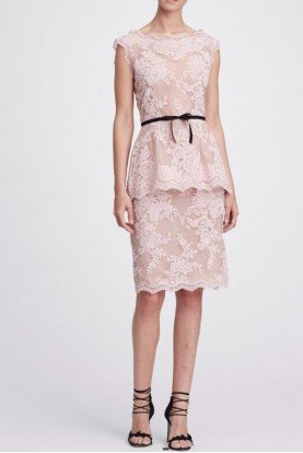 Marchesa Blush Corded Lace Blouse and Skirt
