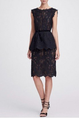 Corded Black Lace Blouse and Skirt Set