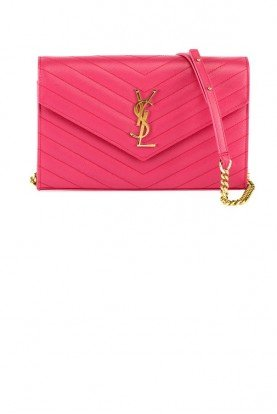 Saint Laurent Fuchsia Matelasse Monogram YSL Wallet on Chain