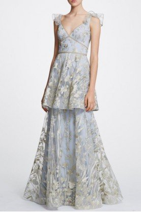 Silver Sleeveless Floral Embroidered Tiered Gown