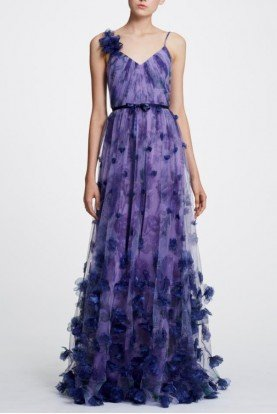 Marchesa Notte Lilac Sleeveless 3D Floral Evening Gown