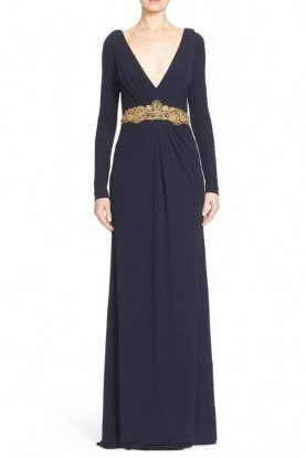 Badgley Mischka Couture Deep V Neck Navy Long Sleeve Evening Gown Dress