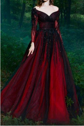 Dark Red Long Sleeve Off Shoulder Evening Gown
