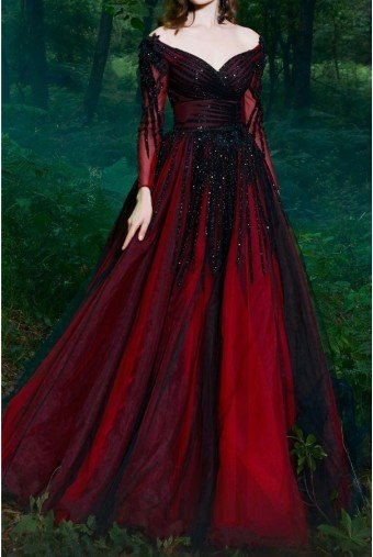 Fouad Sarkis Couture Dark Red Long Sleeve Off Shoulder Evening Gown