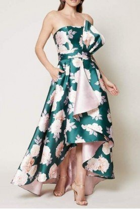 Sachin Babi Floral Strapless High Low Mia Gown with a Bow