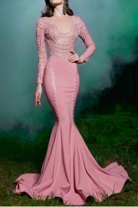 Pink Long Sleeve Fitted Evening Gown Style 2503