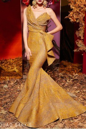 Gold One Shoulder Trumpet Fitted Evening Gown