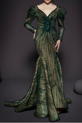 Fouad Sarkis Couture Green Beaded Long Sleeve Evening Gown