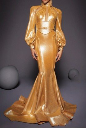 Gold Long Sleeve Fitted Gown Futuristic Dress