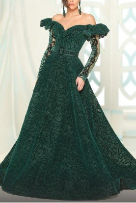Green Off Shoulder Long Sleeve Evening Gown 2512