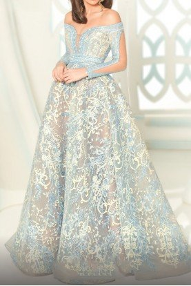Light Blue Long Sleeve Lace Gown Dress Style 2520