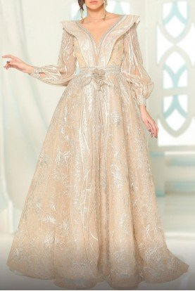 Fouad Sarkis Couture Ivory Pearl Long Sleeve Structured Evening Gown