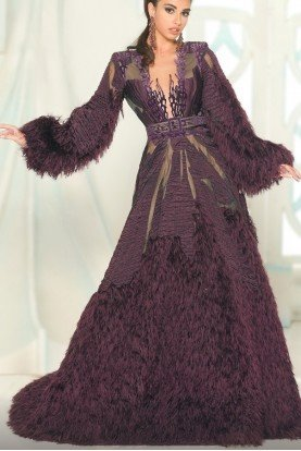 Magenta Long Sleeve A Line Gown