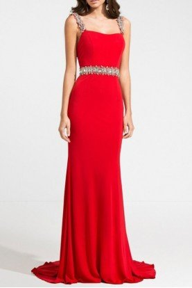 Ashley Lauren Beaded Open Back Gown Red Jersey Prom Pageant Gala