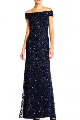 Off Shoulder Beaded Gown Navy  MOB Bridesmaid Prom