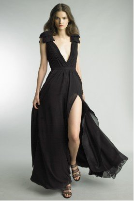 Black Sleeveless Pleated Evening Gown w High Slit